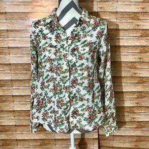 Monteau Semi Sheer Floral Button Up Blouse